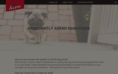Screenshot of FAQ Page alpo.com - FAQs - ALPO® Dog Food - captured Feb. 23, 2018