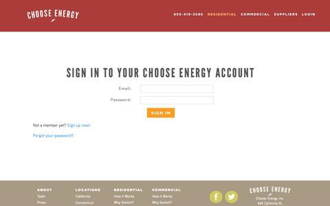 Screenshot of Login Page chooseenergy.com - Login    Choose Energy - captured June 16, 2015
