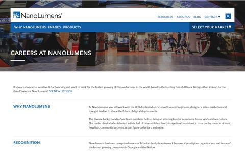Screenshot of Jobs Page nanolumens.com - Jump Starting Careers at NanoLumens - captured Dec. 21, 2017
