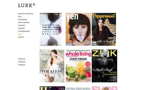 Screenshot of Press Page lurkmade.com - Press   Lurk - captured Oct. 1, 2014