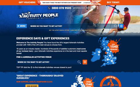 Screenshot of Home Page theactivitypeople.co.uk - Experience Days & Gift Experiences   The Activity People - Driving experiences, Team building, Activity days - captured June 13, 2017