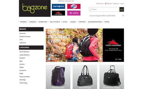 Screenshot of Home Page bagzone.com - Online Shopping for Handbags, American Tourister Luggage and Samsonite Briefcase - Bagzone Store - captured Sept. 23, 2014
