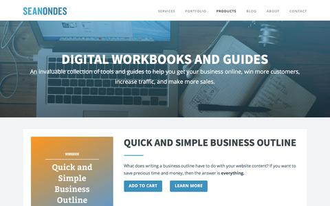 Screenshot of Products Page seanondes.com - Workbooks and Guides for Online Business | Sean Ondes | Sean Ondes - captured Oct. 6, 2017