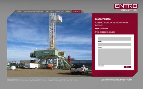 Screenshot of Contact Page entro-eng.com - Contact Entro   Entro Engineering - captured Oct. 3, 2014