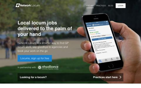 Screenshot of Home Page networklocum.com - Network Locum - captured Oct. 7, 2014