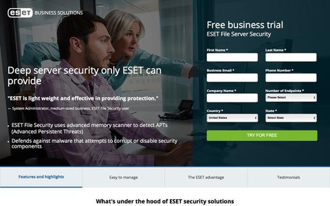 Screenshot of Landing Page eset.com - ESET File Server Security | ESET Endpoint Solutions - captured Aug. 11, 2017