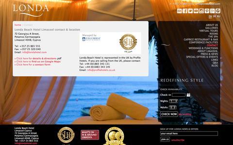 Screenshot of Contact Page londahotel.com - Londa Beach Hotel Limassol | Londa Beach Hotel | Contact Us - captured Dec. 13, 2015
