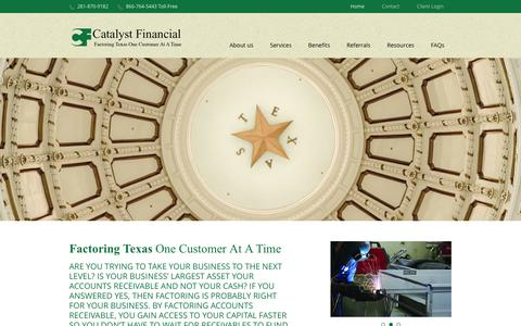 Screenshot of Home Page catfinco.com - Catalyst Financial Company, Houston, Texas - Factoring/Accounts Receivable Financing - captured March 7, 2016