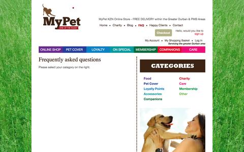 Screenshot of FAQ Page mypetkzn.co.za - MyPet | FAQ - captured Jan. 12, 2016