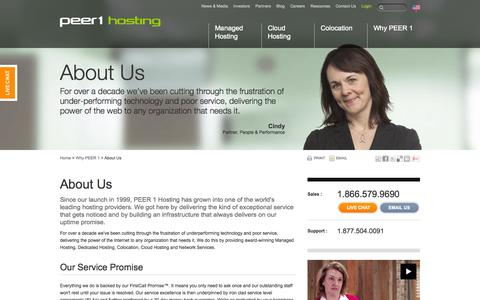 Screenshot of About Page peer1.com - About Us | PEER 1 Hosting - captured Sept. 19, 2014