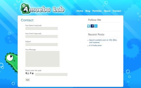 Screenshot of Contact Page amoebalab-games.com - Amoeba Lab|  Contact - captured Oct. 5, 2014