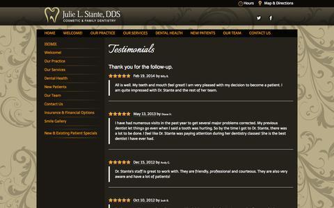 Screenshot of Testimonials Page juliestantedds.com - Testimonials   Julie Stante DDS - captured Oct. 1, 2014