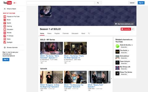 Screenshot of YouTube Page youtube.com - Season 1 of SOLO!  - YouTube - captured Nov. 5, 2014