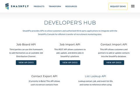Screenshot of Developers Page smashfly.com - SmashFly | Developer's Hub - captured Feb. 8, 2019