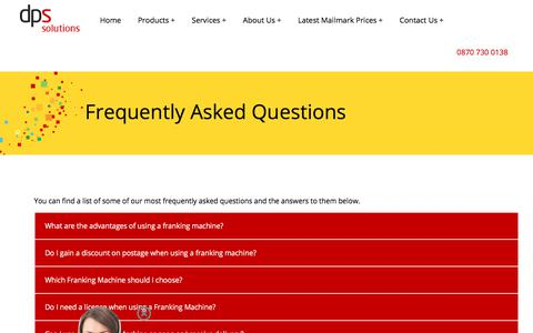 Screenshot of FAQ Page dpsfrankingmachines.co.uk - Frequently Asked Questions - captured Oct. 12, 2017