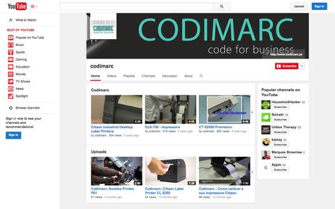 Screenshot of YouTube Page youtube.com - codimarc  - YouTube - captured Oct. 23, 2014