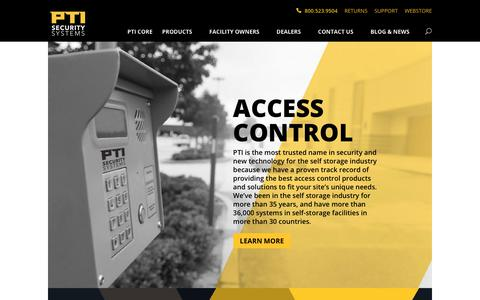 Screenshot of Home Page ptisecurity.com - Secure Self Storage | Security Systems & Access Control | PTI Security Systems - captured Oct. 21, 2018