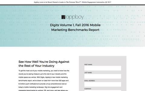 Screenshot of Landing Page appboy.com - Digits Mobile Marketing Metrics   Appboy - captured Oct. 24, 2017