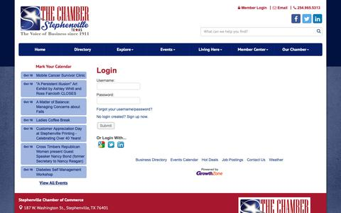 Screenshot of Login Page stephenvilletexas.org - Login - Stephenville Chamber of Commerce, TX - captured Oct. 19, 2018