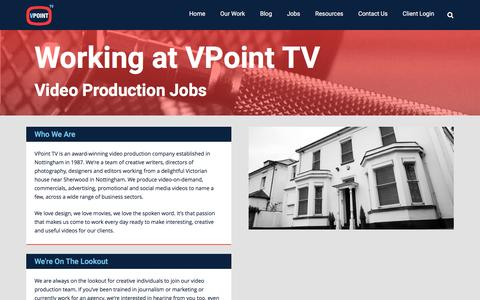 Screenshot of Jobs Page vpoint.tv - Video Production Jobs @VPoint TV - VPoint.TV | Advertising, Social and Web Video Production - captured Feb. 27, 2016