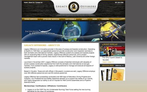 Screenshot of About Page legacyoffshore.com - Deep Sea Diving | Commercial Diving | Diving Vessels - Legacy Offshore - captured Sept. 29, 2014