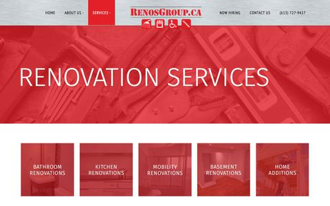 Screenshot of Services Page renosgroup.ca - Ottawa Renovation Services | Renosgroup.ca - captured Oct. 20, 2018