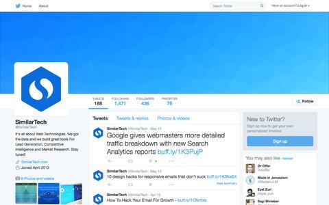 Screenshot of Twitter Page twitter.com - SimilarTech (@SimilarTech) | Twitter - captured Oct. 15, 2015