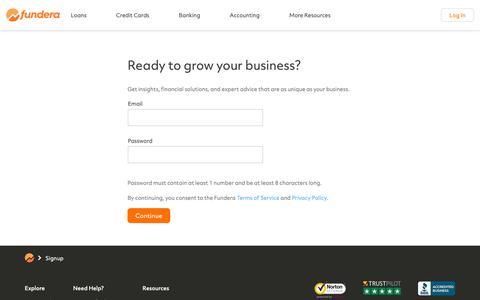 Screenshot of Signup Page fundera.com - Small Business Loans Made Easy | Fundera - captured Nov. 4, 2018