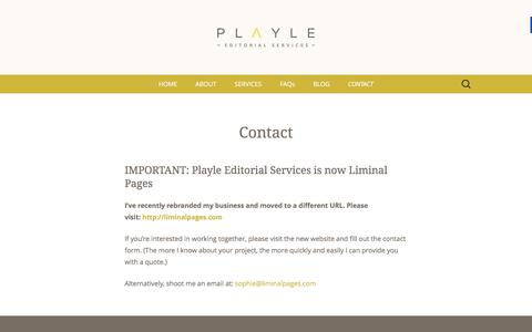 Screenshot of Contact Page playle-editorial-services.com - Contact - Playle Editorial Services - captured March 25, 2016