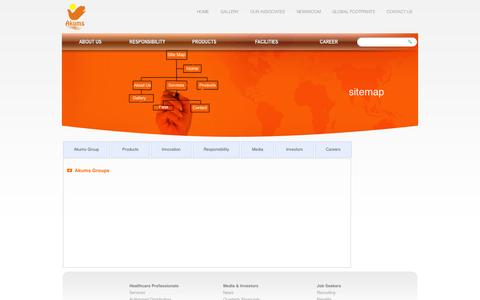 Screenshot of Site Map Page akums.in - AKUMS DRUGS & PHARMACEUTICALS LTD - captured Oct. 4, 2014