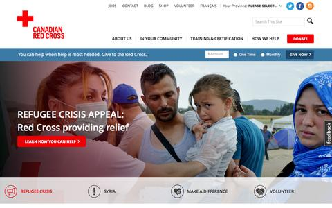 Screenshot of Home Page redcross.ca - Canadian Red Cross - Canadian Red Cross - captured Nov. 1, 2015