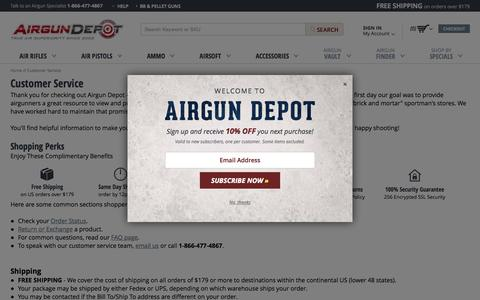 Screenshot of Support Page airgundepot.com - Customer Service |  AirgunDepot.com - captured Oct. 25, 2015