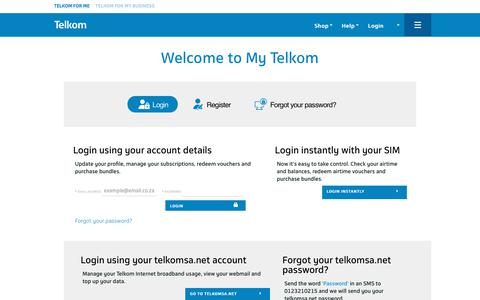 Screenshot of Login Page telkom.co.za - Login - My Telkom - captured Oct. 21, 2017