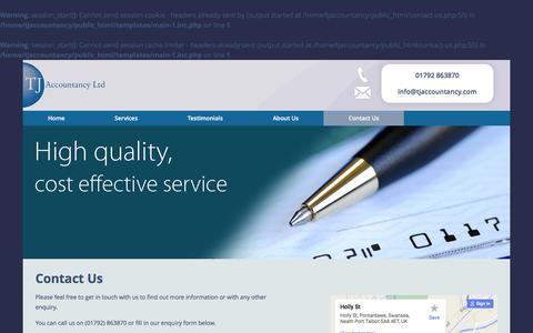 Screenshot of Contact Page tjaccountancy.com - Contact TJ Accountancy Ltd - captured Feb. 16, 2016