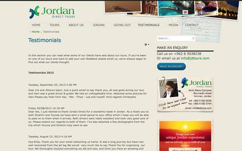 Screenshot of Testimonials Page jdtours.com - Jordan Direct Tour reviews and testimonials - captured Oct. 6, 2014