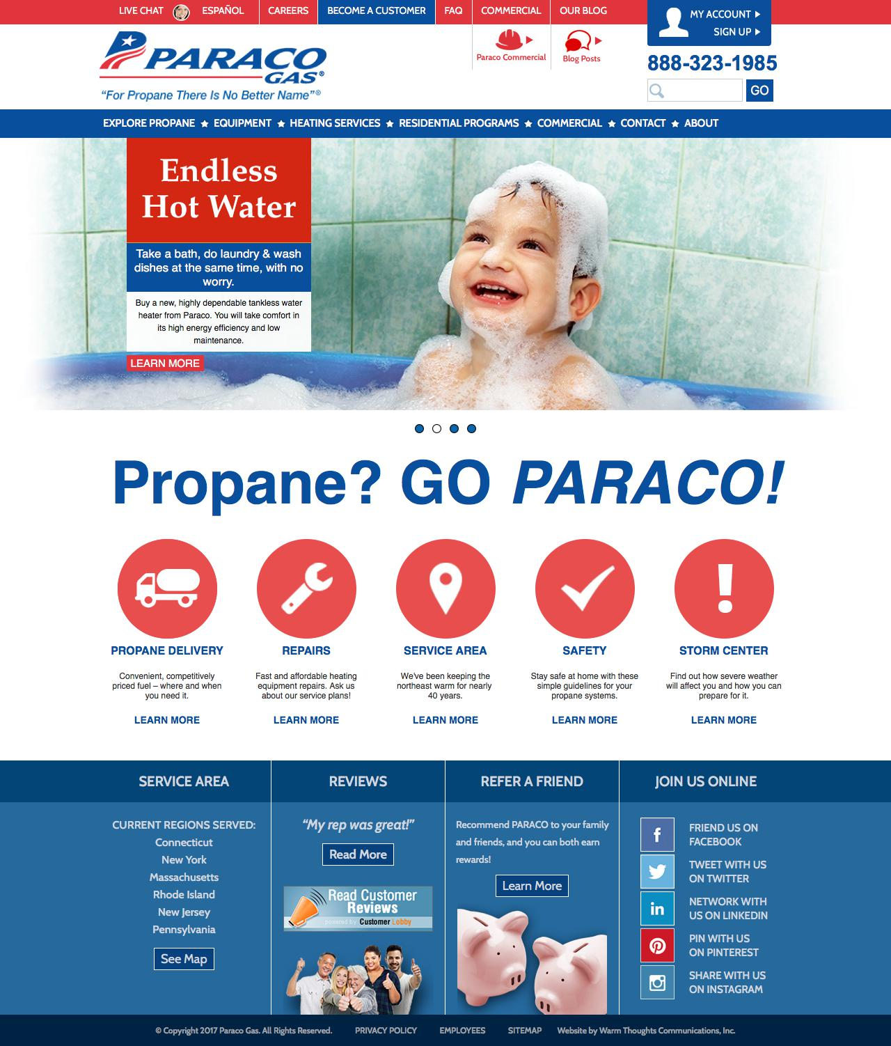 Screenshot of paracogas.com - Propane Company | Propane Delivery | Paraco Gas - captured July 13, 2017