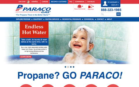 Screenshot of Home Page paracogas.com - Propane Company | Propane Delivery | Paraco Gas - captured July 13, 2017