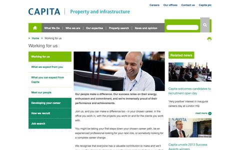 Screenshot of Jobs Page capitasymonds.com - Working for us  - Capita Property and Infrastructure - captured Oct. 4, 2014