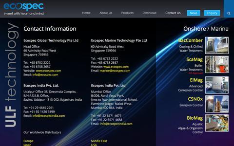 Screenshot of Contact Page ecospec.com - Contact - captured Jan. 25, 2016