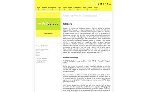 Screenshot of Jobs Page briffa.com - Briffa ™ ® © | Contact - captured Sept. 30, 2014