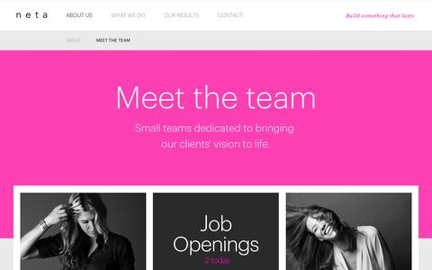 Screenshot of Team Page netamorphosis.com - Meet the Team - netamorphosis - captured March 16, 2016