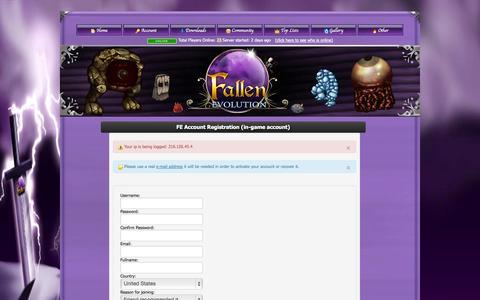 Screenshot of Signup Page fallen-evolution.com - .:Fallen Evolution:. - captured Sept. 23, 2014