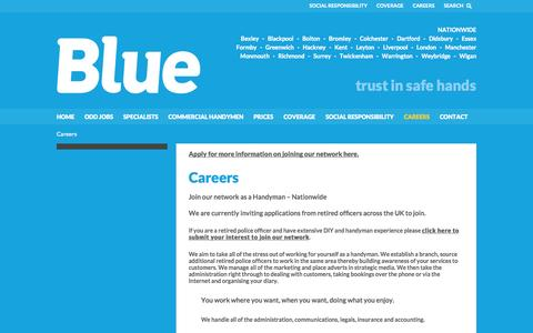 Screenshot of Jobs Page trustinblue.com - Careers | Reliable Local Handymen | Blue - captured Oct. 5, 2014