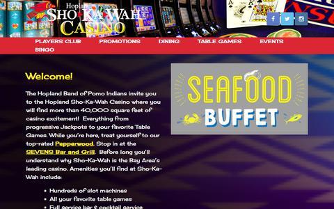 Screenshot of Home Page shokawah.com - Welcome to Hopland Sho-Ka-Wah Casino! - captured Jan. 29, 2016