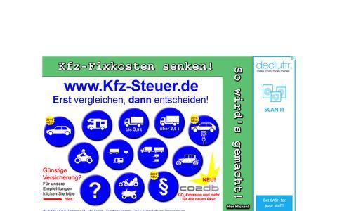 Screenshot of Home Page kfz-steuer.de - Kfz-Steuer Rechner NEU! 2016 KOSTENLOS fŸr Pkw, Auto, Lkw, Diesel, Benzin - captured Jan. 17, 2016