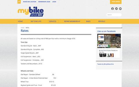 Screenshot of Services Page mybike.com - MyBike | Shop Rates - captured Feb. 15, 2016
