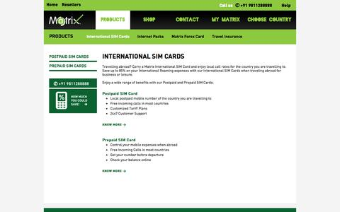 Screenshot of Products Page matrix.in - Matrix : International SIM card|International SIM Card from India - captured Oct. 27, 2014