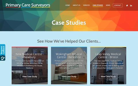 Screenshot of Case Studies Page primarycaresurveyors.com - Case Studies - Primary Care Surveyors - captured Nov. 5, 2018