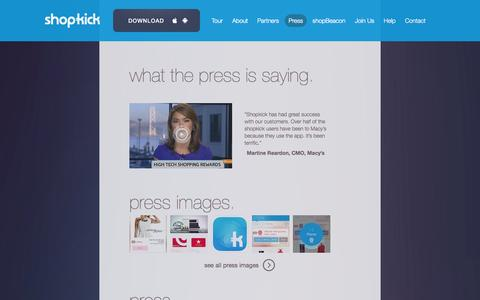 Screenshot of Press Page shopkick.com - shopkick  | press - captured Sept. 12, 2014