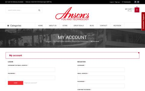 Screenshot of Signup Page Login Page ansons.ph - Anson'sMy Account | Anson's - captured July 2, 2017
